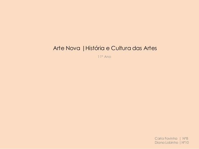 Arte Nova |História e Cultura das Artes 11º Ano Carla Favinha | Nº8 Diana Lobinho |Nº10