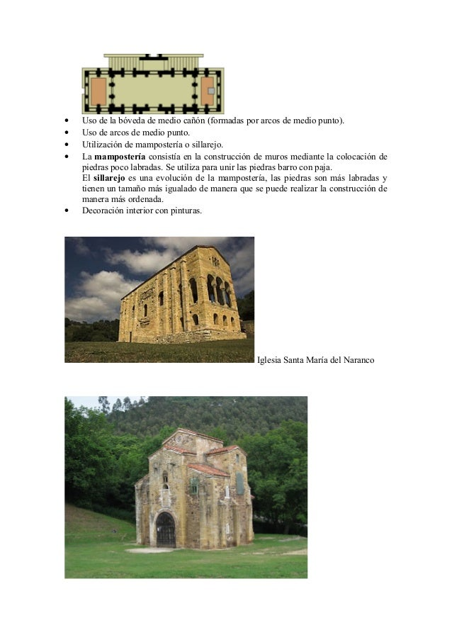 •   Uso de la bóveda de medio cañón (formadas por arcos de medio punto).•   Uso de arcos de medio punto.•   Utilización de...