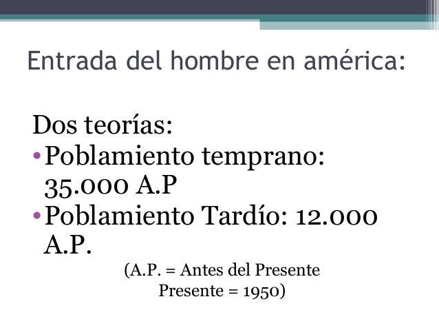 Entrada del hombre en américa: Dos teorías: •Poblamiento temprano: 35.000 A.P •Poblamiento Tardío: 12.000 A.P. (A.P. = Ant...