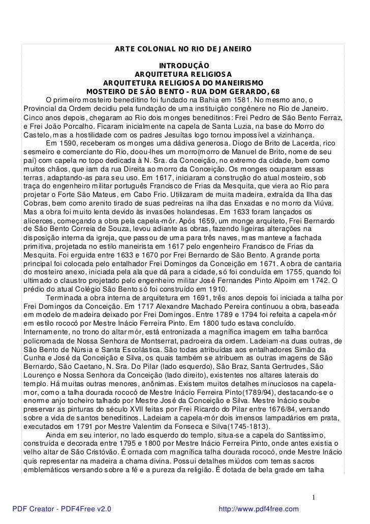 ARTE COLONIAL NO RIO DE JANEIRO                                              INTRODUÇÃO                                   ...