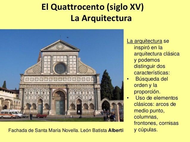 Arte renacimiento resumen Arquitectura quattrocento caracteristicas