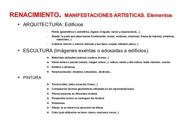 RENACIMIENTO. ●  MANIFESTACIONES ARTÍSTICAS. Elementos  ARQUITECTURA: Edificios –  Planta (geométrica o aximétrica, regula...