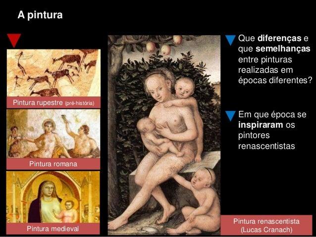 A pintura Pintura romana Pintura rupestre (pré-história) Que diferenças e que semelhanças entre pinturas realizadas em épo...
