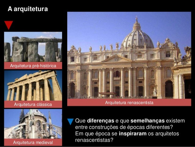 A arquitetura Arquitetura pré-histórica Que diferenças e que semelhanças existem entre construções de épocas diferentes? E...