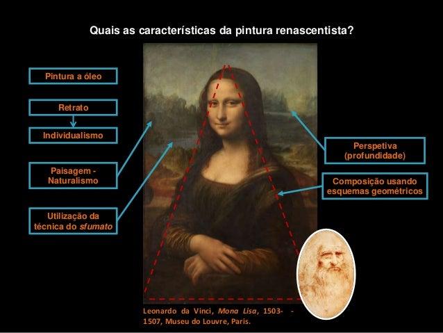 Leonardo da Vinci, Mona Lisa, 1503- - 1507, Museu do Louvre, Paris. Retrato Pintura a óleo Composição usando esquemas geom...