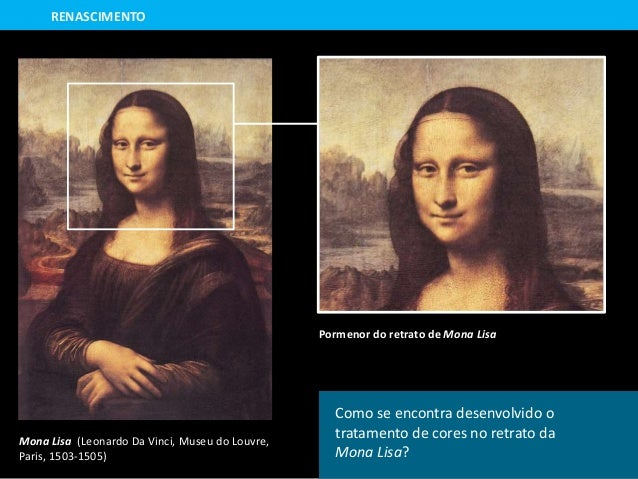 Mona Lisa (Leonardo Da Vinci, Museu do Louvre, Paris, 1503-1505) Pormenor do retrato de Mona Lisa RENASCIMENTO Como se enc...
