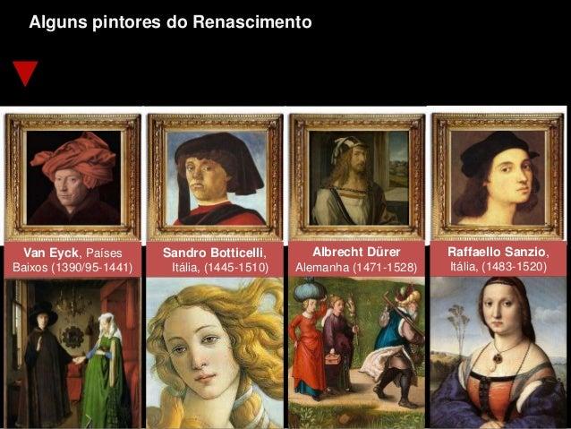 Alguns pintores do Renascimento Van Eyck, Países Baixos (1390/95-1441) Sandro Botticelli, Itália, (1445-1510) Albrecht Dür...