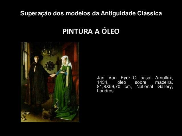 PINTURA A ÓLEO Superação dos modelos da Antiguidade Clássica Jan Van Eyck–O casal Arnolfini, 1434, óleo sobre madeira, 81,...
