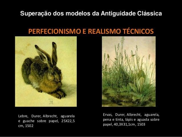 PERFECIONISMO E REALISMO TÉCNICOS Superação dos modelos da Antiguidade Clássica Lebre, Durer, Albrecht, aguarela e guache ...