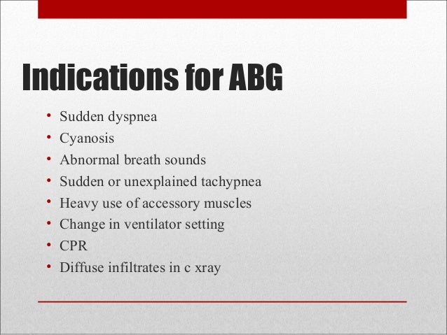 blood test and arterial blood gas Arterial blood gases arterial blood gas analysis provides information on the  following: 1] oxygenation of blood through gas exchange in the.