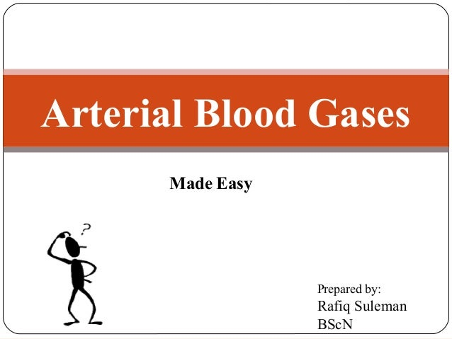 Arterial Blood Gases Made Easy  Prepared by:  Rafiq Suleman BScN