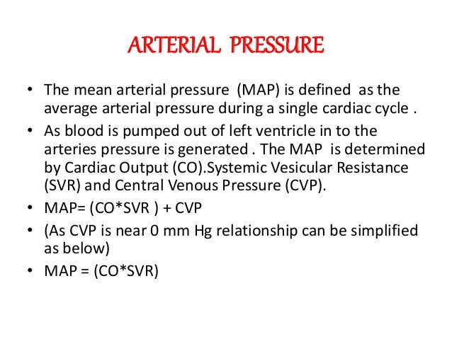 relationship between cardiac output and mean arterial blood pressure