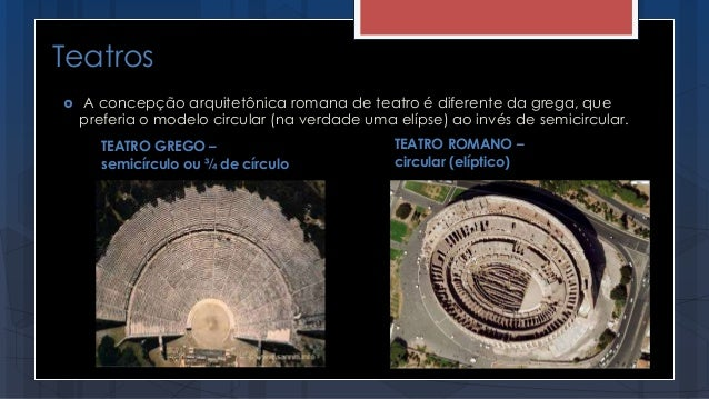 Teatros TEATRO GREGO – semicírculo ou ¾ de círculo  A concepção arquitetônica romana de teatro é diferente da grega, que ...
