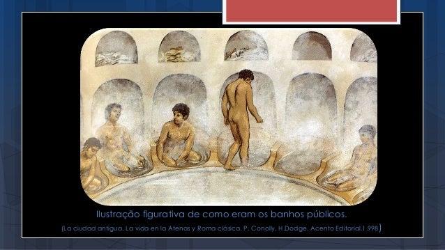 Ilustração figurativa de como eram os banhos públicos. (La ciudad antigua. La vida en la Atenas y Roma clásica. P. Conolly...