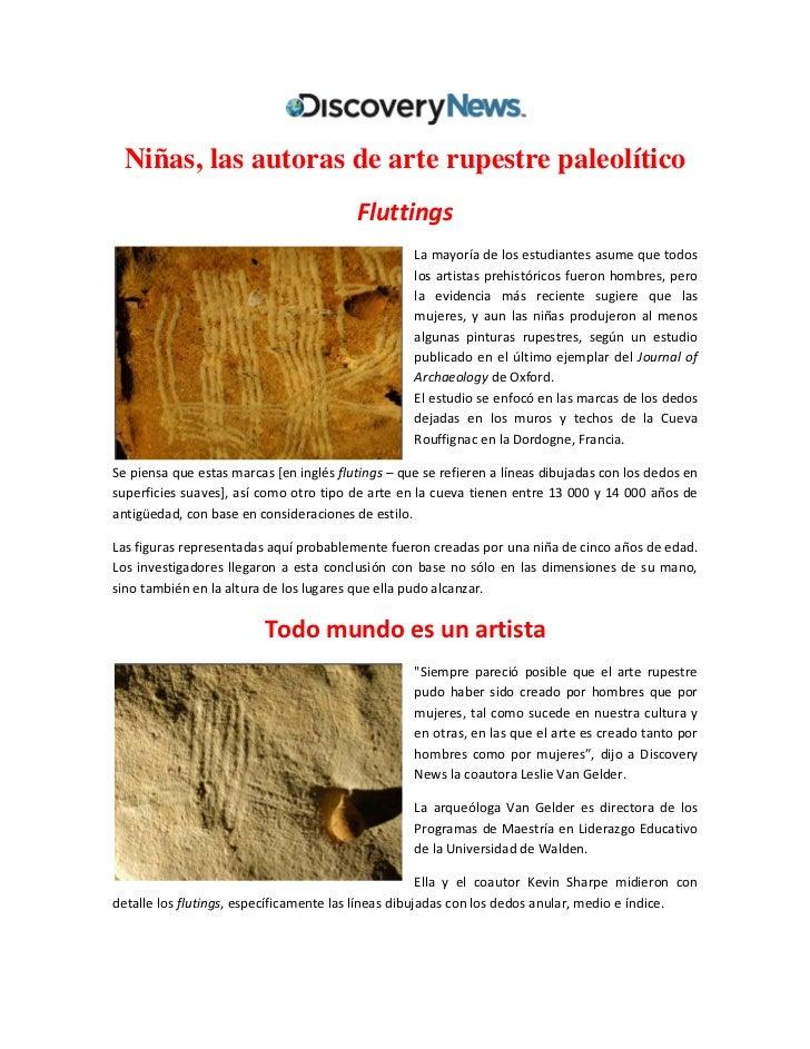 Niñas, las autoras de arte rupestre paleolítico                                         Fluttings                         ...