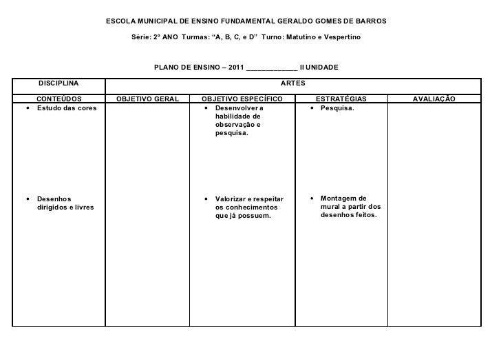 """ESCOLA MUNICIPAL DE ENSINO FUNDAMENTAL GERALDO GOMES DE BARROS                              Série: 2º ANO Turmas: """"A, B, C..."""