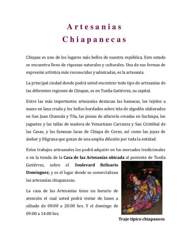 A r t e s a n i a s                        C h i a p a n e c a s<br />Chiapas es uno de los lugares más bellos de nuestra ...