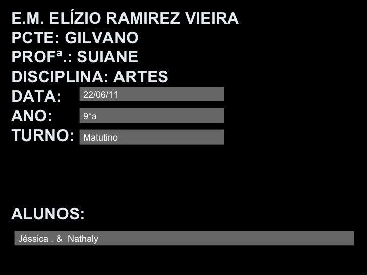 <ul>E.M. ELÍZIO RAMIREZ VIEIRA PCTE: GILVANO PROFª.: SUIANE DISCIPLINA: ARTES DATA: ANO: TURNO: ALUNOS:  </ul>22/06/11 Jés...