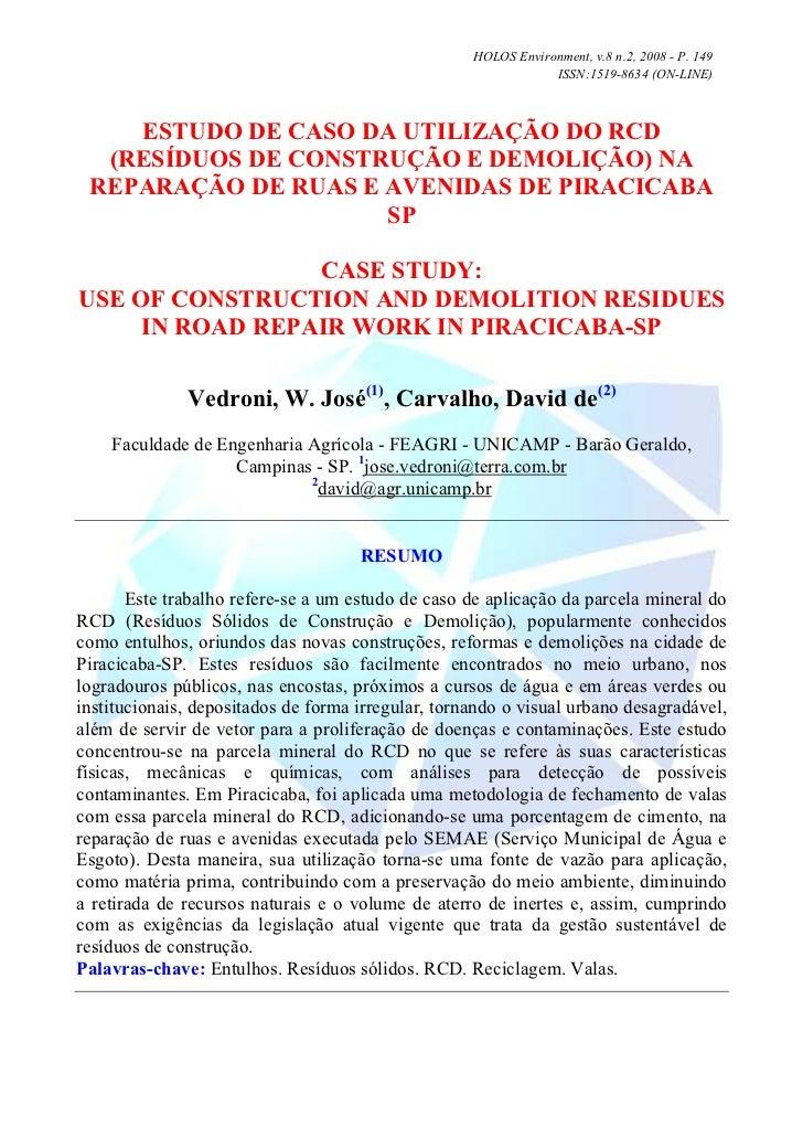 HOLOS Environment, v.8 n.2, 2008 - P. 149                                                                ISSN:1519-8634 (O...