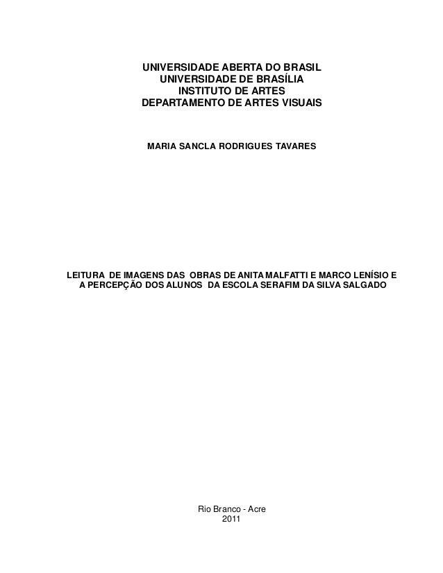 UNIVERSIDADE ABERTA DO BRASIL                 UNIVERSIDADE DE BRASÍLIA                    INSTITUTO DE ARTES              ...