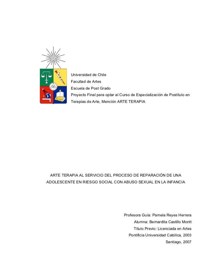 Universidad de Chile          Facultad de Artes          Escuela de Post Grado          Proyecto Final para optar al Curso...