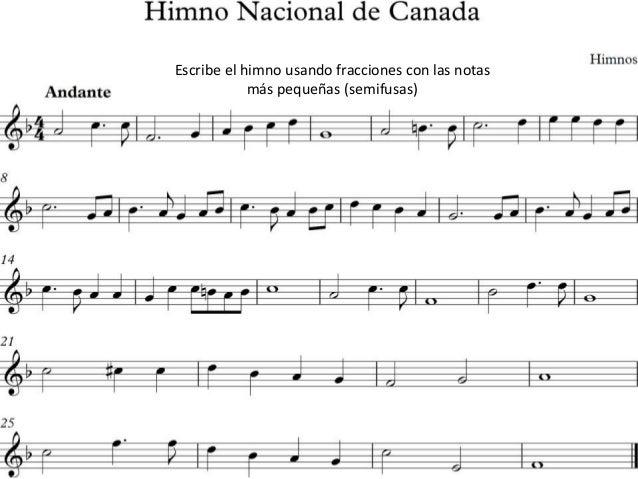 Escribe el himno usando fracciones con las notas más pequeñas (semifusas)