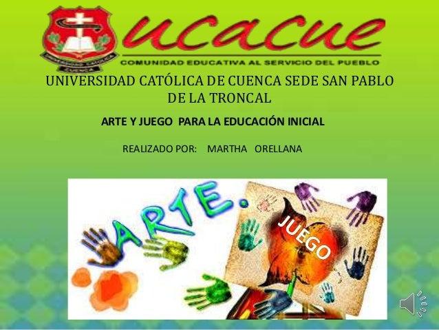 UNIVERSIDAD CATÓLICA DE CUENCA SEDE SAN PABLO  DE LA TRONCAL  ARTE Y JUEGO PARA LA EDUCACIÓN INICIAL  REALIZADO POR: MARTH...