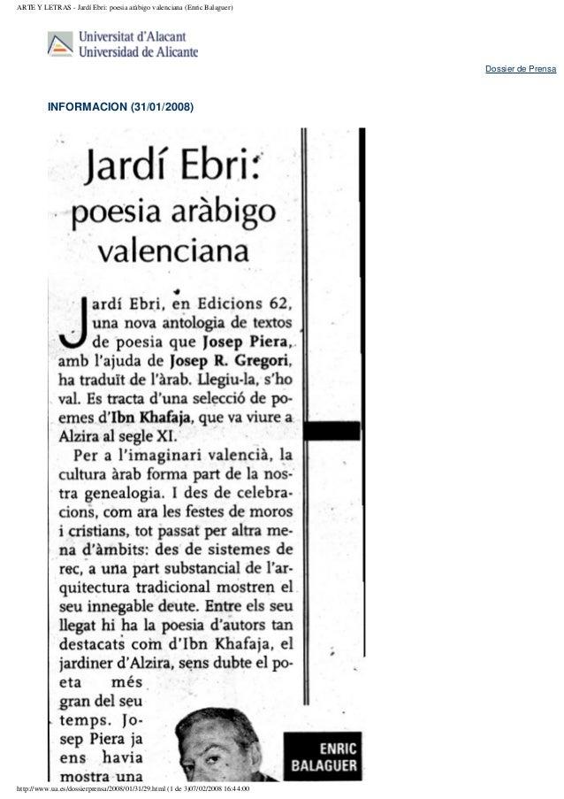 ARTE Y LETRAS - Jardí Ebri: poesia aràbigo valenciana (Enric Balaguer)                                                    ...