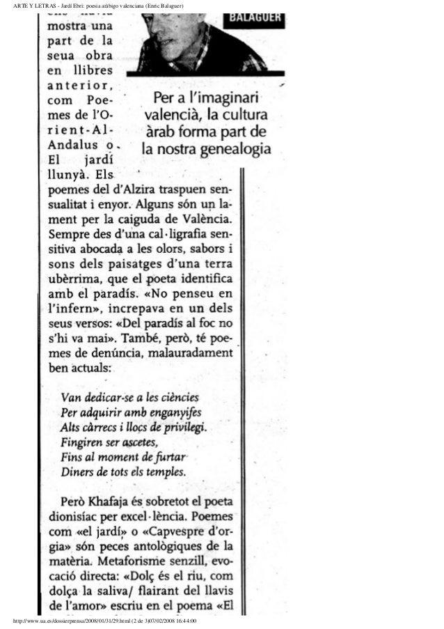 ARTE Y LETRAS - Jardí Ebri: poesia aràbigo valenciana (Enric Balaguer)http://www.ua.es/dossierprensa/2008/01/31/29.html (2...