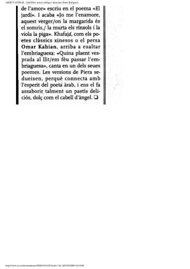 ARTE Y LETRAS - Jardí Ebri: poesia aràbigo valenciana (Enric Balaguer)http://www.ua.es/dossierprensa/2008/01/31/29.html (3...
