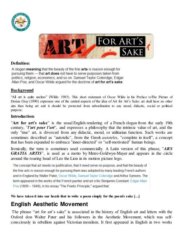 Art for art sake