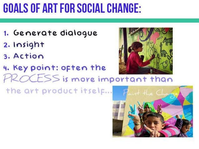GOALS OF ART FOR SOCIAL CHANGE:   1. Generate dialogue 2. insight  3. Action  '1. Key point:  oi: ten the