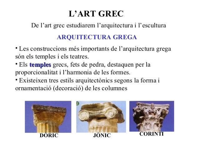L'ART GREC De l'art grec estudiarem l'arquitectura i l'escultura ARQUITECTURA GREGA • Les construccions més importants de ...