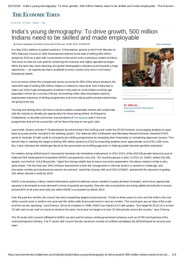 5/27/2014 India's young demography: To drive growth, 500 million Indians need to be skilled and made employable - The Econ...