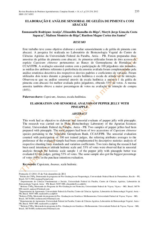 Revista Brasileira de Produtos Agroindustriais, Campina Grande, v.14, n.3, p.233-238, 2012 ISSN 1517-8595  233  ELABORAÇÃO...