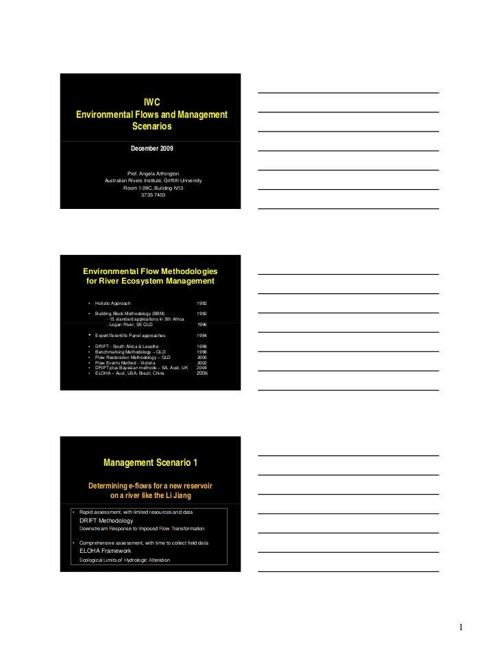 IWC    Environmental Flows and Management                 Scenarios                                December 2009          ...