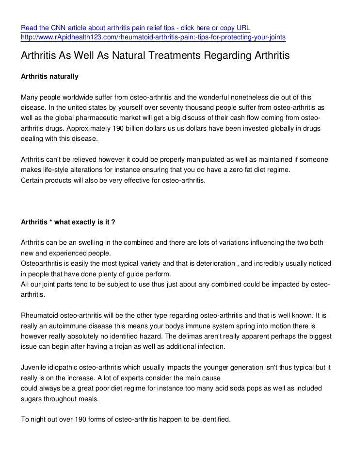 Read the CNN article about arthritis pain relief tips - click here or copy URLhttp://www.rApidhealth123.com/rheumatoid-art...