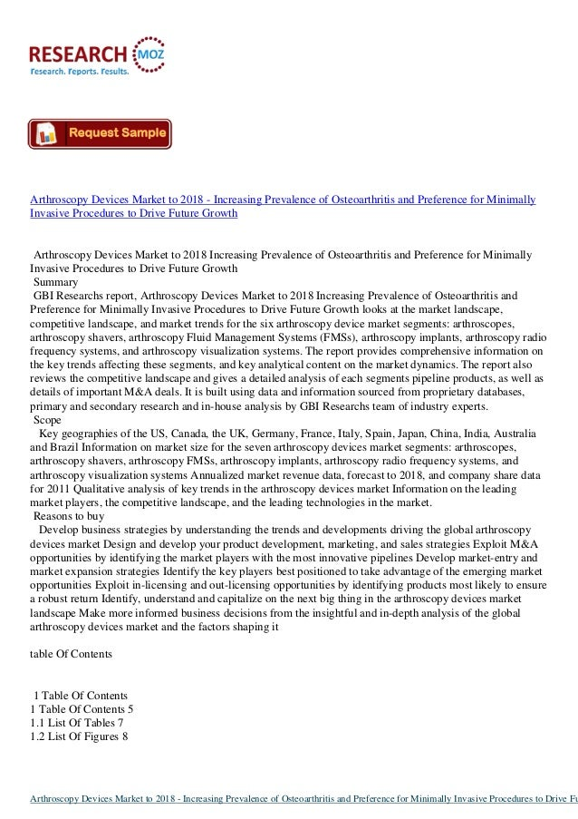 Arthroscopy Devices Market to 2018 - Increasing Prevalence of Osteoarthritis and Preference for MinimallyInvasive Procedur...