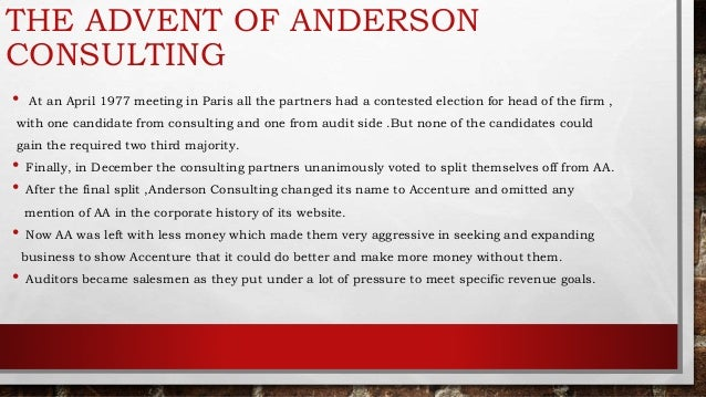 arthur andersen llp case study Essay case study of arthur andersen business ethics decision-making cases write-ups arthur andersen: questionable accounting practices name: wen jiangshan student id:2011008274 part i summary of the case case 2 mainly introduces how arthur andersen, who used to be one of the big five largest accounting firms in the united states, strayed away from accepted policies and stuck in a.