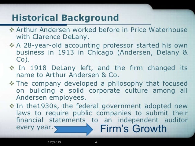arthur andersen llp case study Arthur andersen was once known as a major player of the big 5 accounting firms (sec, 2008) and now has dwindled to just a small llp at one time.