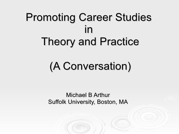 Promoting Career Studies  in  Theory and Practice (A Conversation) Michael B Arthur Suffolk University, Boston, MA