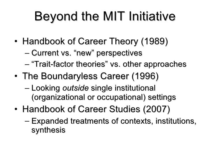 """the evolution of the boundaryless career 'liberated' world of work and """"boundaryless careers"""" (arthur 1994), others  highlight  employment statistics database in order to capture historical trends  in job."""
