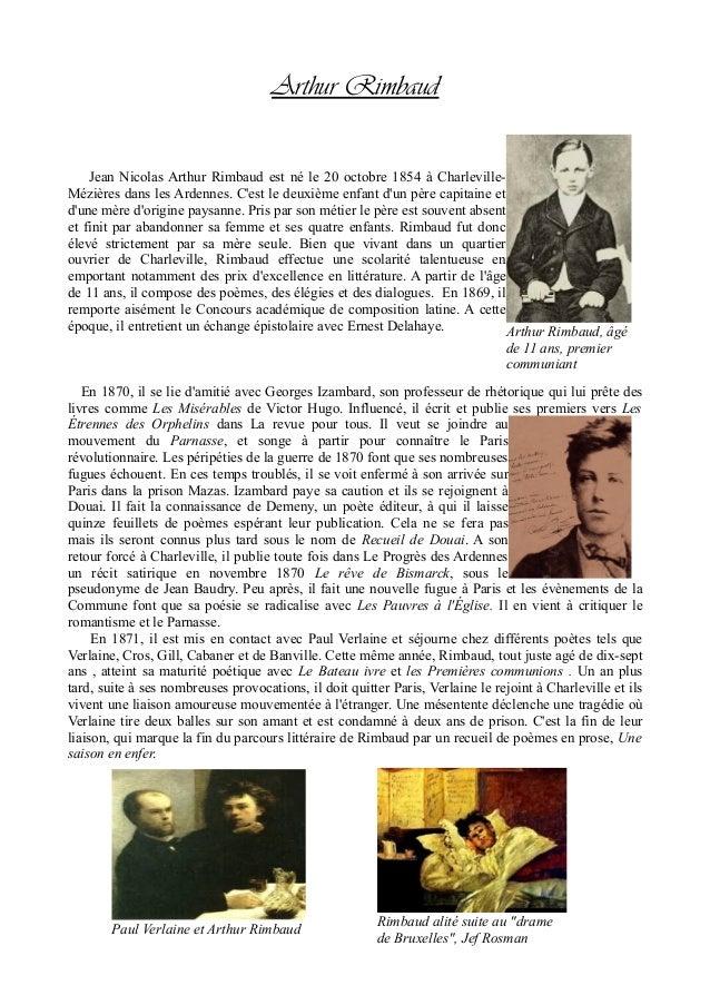 Arthur Rimbaud Jean Nicolas Arthur Rimbaud est né le 20 octobre 1854 à Charleville- Mézières dans les Ardennes. C'est le d...