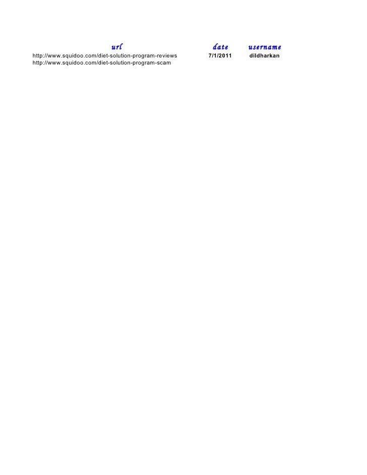 url                         date      username http://www.squidoo.com/diet-solution-program-reviews   7/1/2011   dildharka...