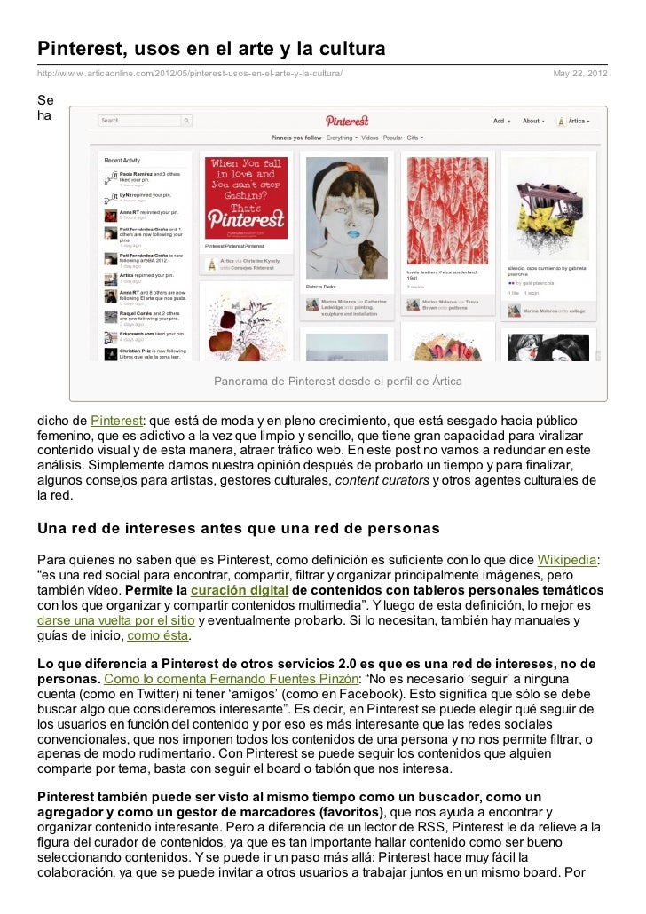 Pinterest, usos en el arte y la culturahttp://w w w .articaonline.com/2012/05/pinterest-usos-en-el-arte-y-la-cultura/     ...