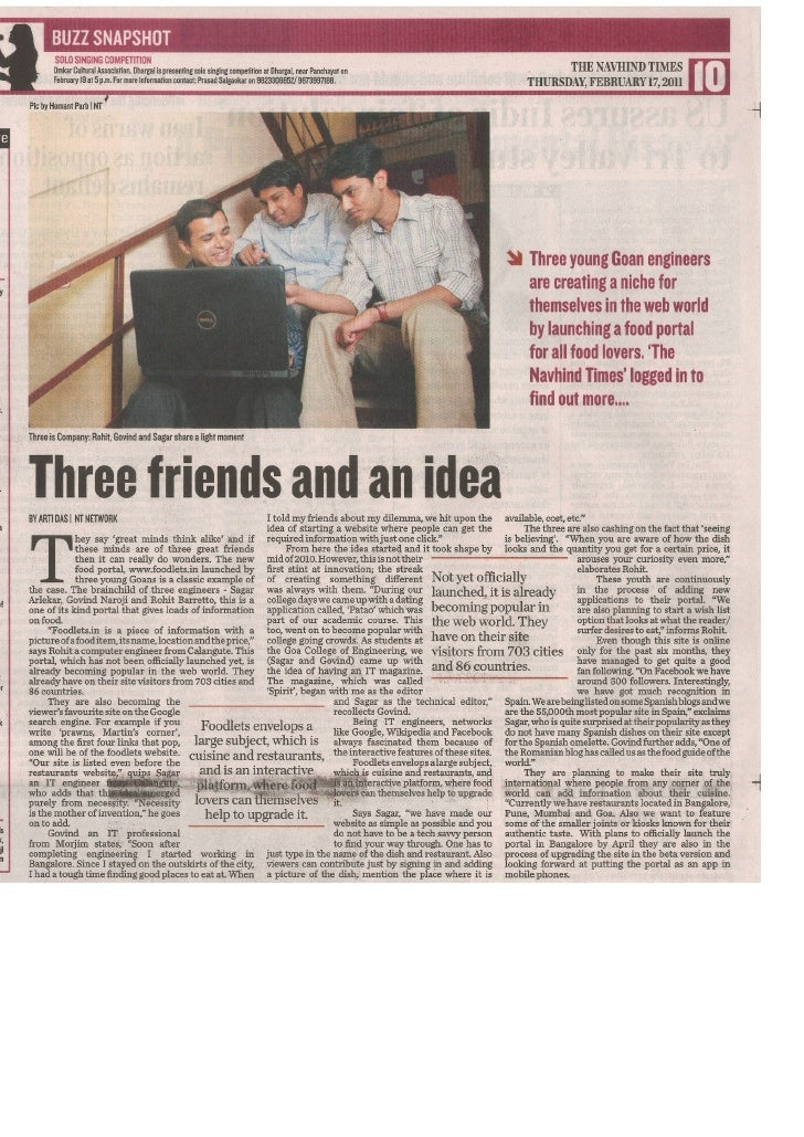 Foodlets Team Interview - Navhind Times