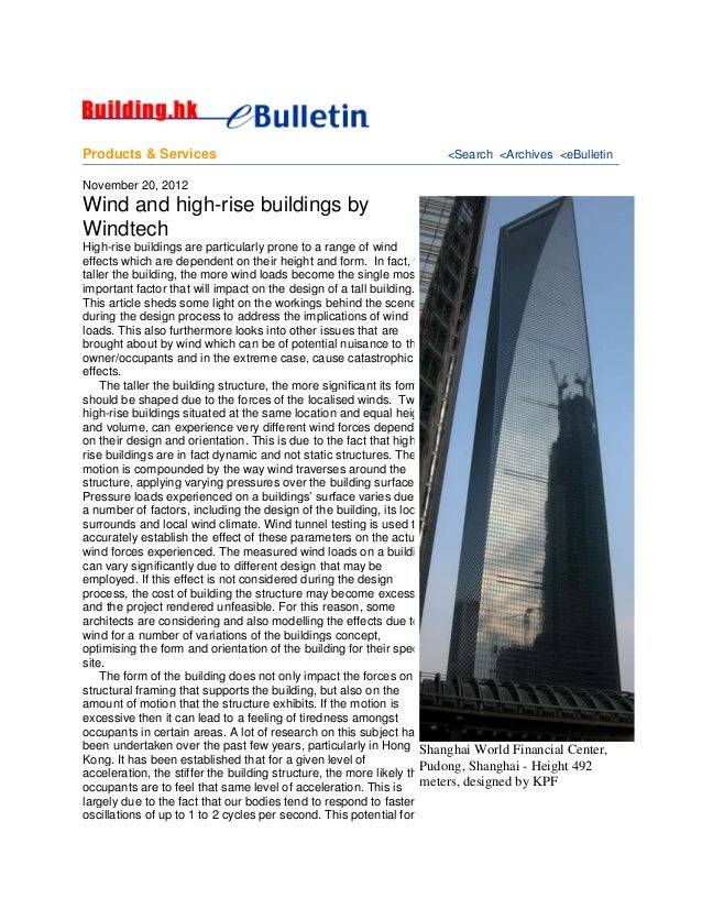 Products & Services <Search <Archives <eBulletin November 20, 2012 Wind and high-rise buildings by Windtech High-rise buil...