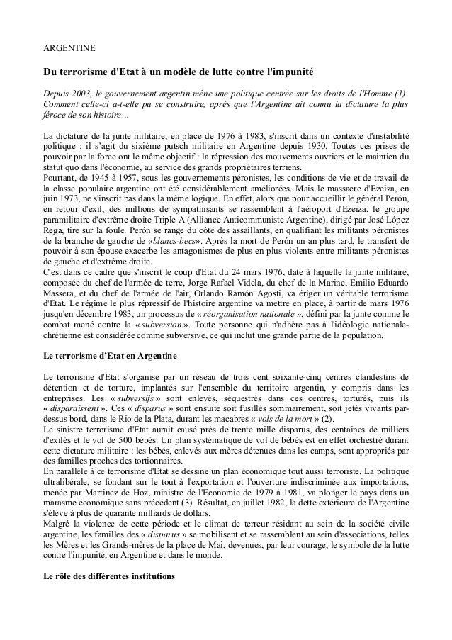 ARGENTINE Du terrorisme d'Etat à un modèle de lutte contre l'impunité Depuis 2003, le gouvernement argentin mène une polit...