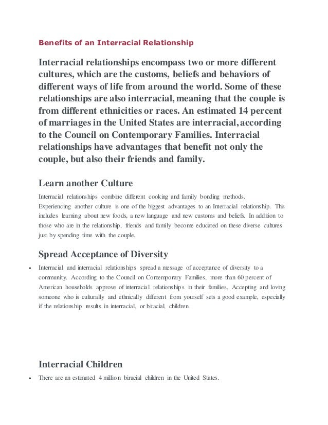 Benefits of interracial relationships