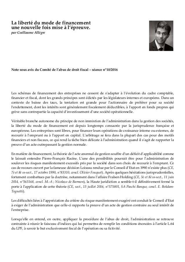 La liberté du mode de financement une nouvelle fois mise à l'épreuve. par Guillaume Allègre Note sous avis du Comité de l'...